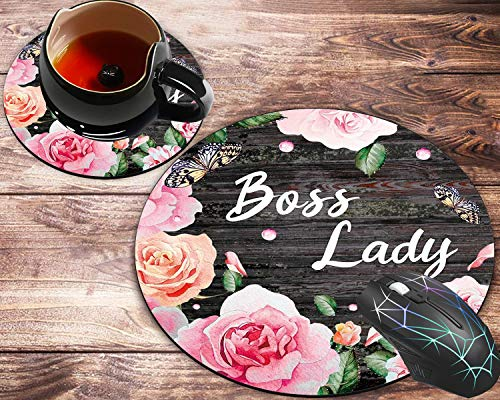Round Mouse Pad and Coaster Set, Pink Rose Flower Pattern Wooden Art Boss Lady Quote Mousepad, Non-Slip Rubber Base Gaming Mouse Pads for Working Or Game
