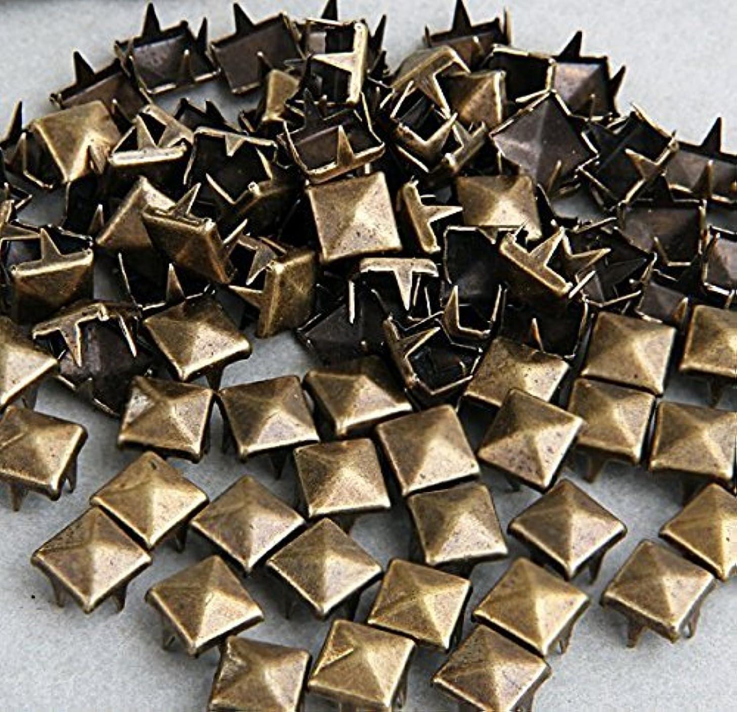 Vikeva 100 Brass 8mm Pyramid Studs Spots Punk Nailheads Spikes for Bag Shoes Bracelet