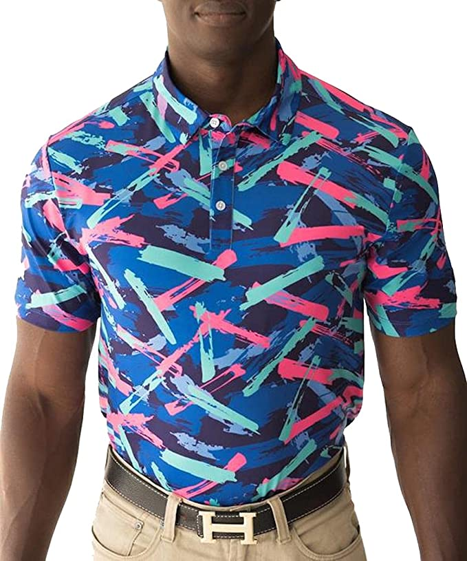 80s Men's Clothing   Shirts, Jeans, Jackets for Guys YATTA GOLF Standout Performance Golf Polo Shirts – Men's  AT vintagedancer.com