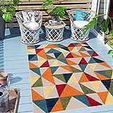 Carpeto Rugs Geometrisch In- & Outdoor Teppich Wetterfest für Balkon, Terasse - Balkon Teppich...