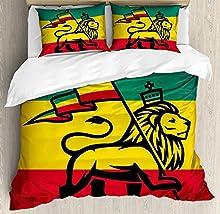 Juego de sábanas Rasta de 3 piezas Juego de funda nórdica, Judah Lion con una bandera de Rastafari, estampado de arte del tema del reggae de la selva, juego de fundas de edredón / edredón de 3 piezas