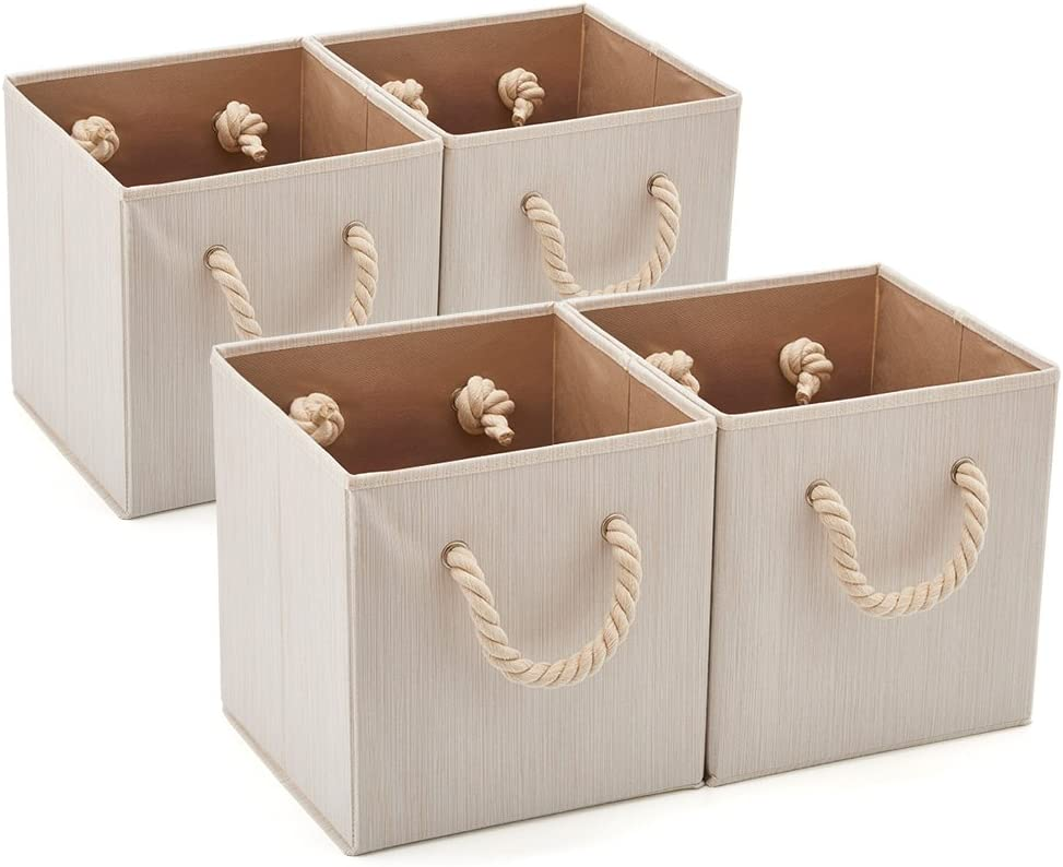 EZOWARE 4 pcs Cajas de Almacenaje, Cubo Decorativa de Tela Plegable Resistente con Manijas para Ropa, Juguetes, Armario, Dormitorio, Estanterías y Mas - (26.7 x 26.7 x 28 cm) (Beige bambú)