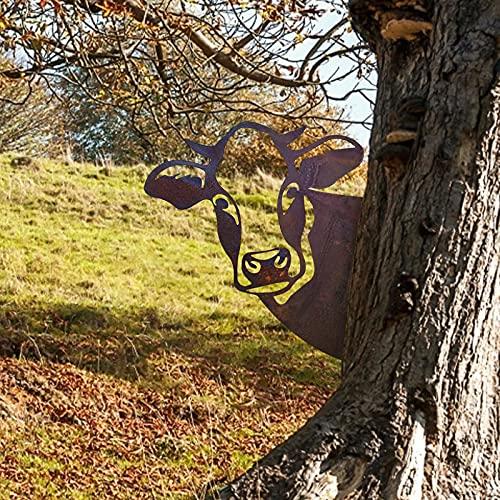 Voyeur Art, Bauernhof guckende Kuh Metall Kunst/gucken Hühner/Schaf im Freien, Metall Rost rostige Gartendeko für Garten, Gartendekoration (C)