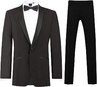 Mens Black 2 Piece Tuxedo Regular Fit Shawl Lapel Evening Dinner Suit