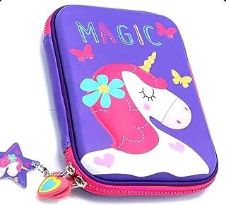 FunBlast Multipurpose Zipper Stylish Unicorn Print Large Capacity Pencil Case, Pen & Pencil Pouch Bag Case for School Supplies for Kids, Girls (Purple)