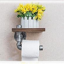 YYURUYI ヴィンテージ無垢材壁紙タオルラック錬鉄パイプラック浴室クリエイティブ壁掛け紙ロールホルダー
