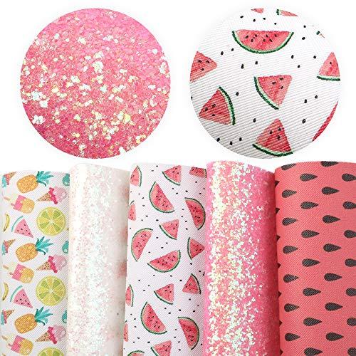 CHSDN Es ist der Bogenherstellung 20 * 33 cm Wassermelone Faux künstliche synthetische Leder Stoff Haar Bogen DIY Dekoration Handwerk 5 stücke/Set Lederbleche zum Handwerk