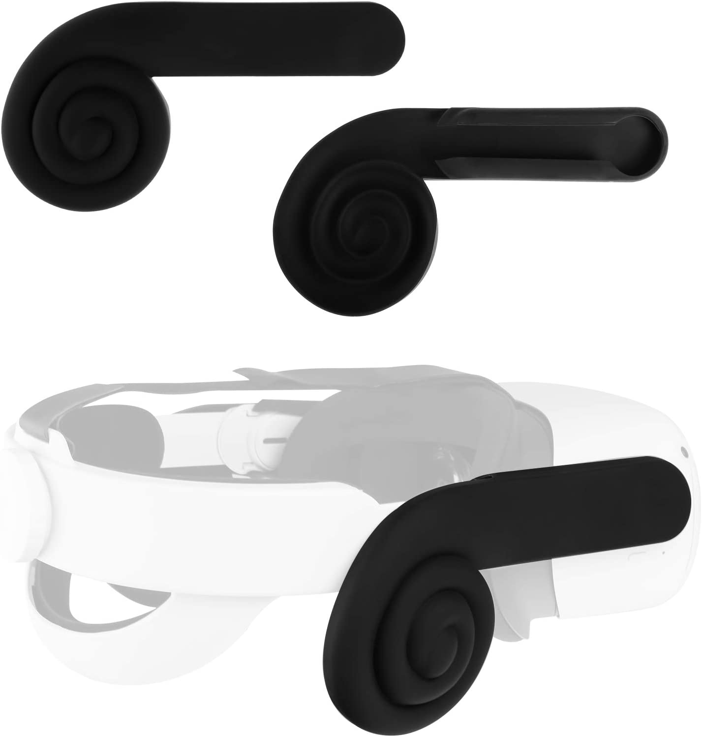 (1 Pair) Seltureone Compatible for Oculus Quest 2 VR Headset Silicone Ear Muffs, Enhancing Sound Ear Cups Accessories for Quest 2 Headphones, Black
