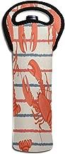 Wine Bag Lobsters Stripe 1 Beer Bottle Red Wine Tote Bag Cooler Single Water Gift Carrier Handle Bag