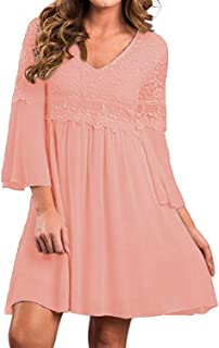 Women's Vintage Floral Lace V Neck 3/4 Bell Sleeve Cocktail A-line Swing Party Casual Mini Dress