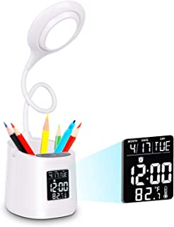 Lámpara de Escritorio LED Wanjiaone con Soporte para Bolígrafo y Móvil, Flexo LED, Regulación sin Escalones, Pantalla LCD, Luz Escritorio Flexible Batería Incorporada para Estudio/Lectura/Oficina