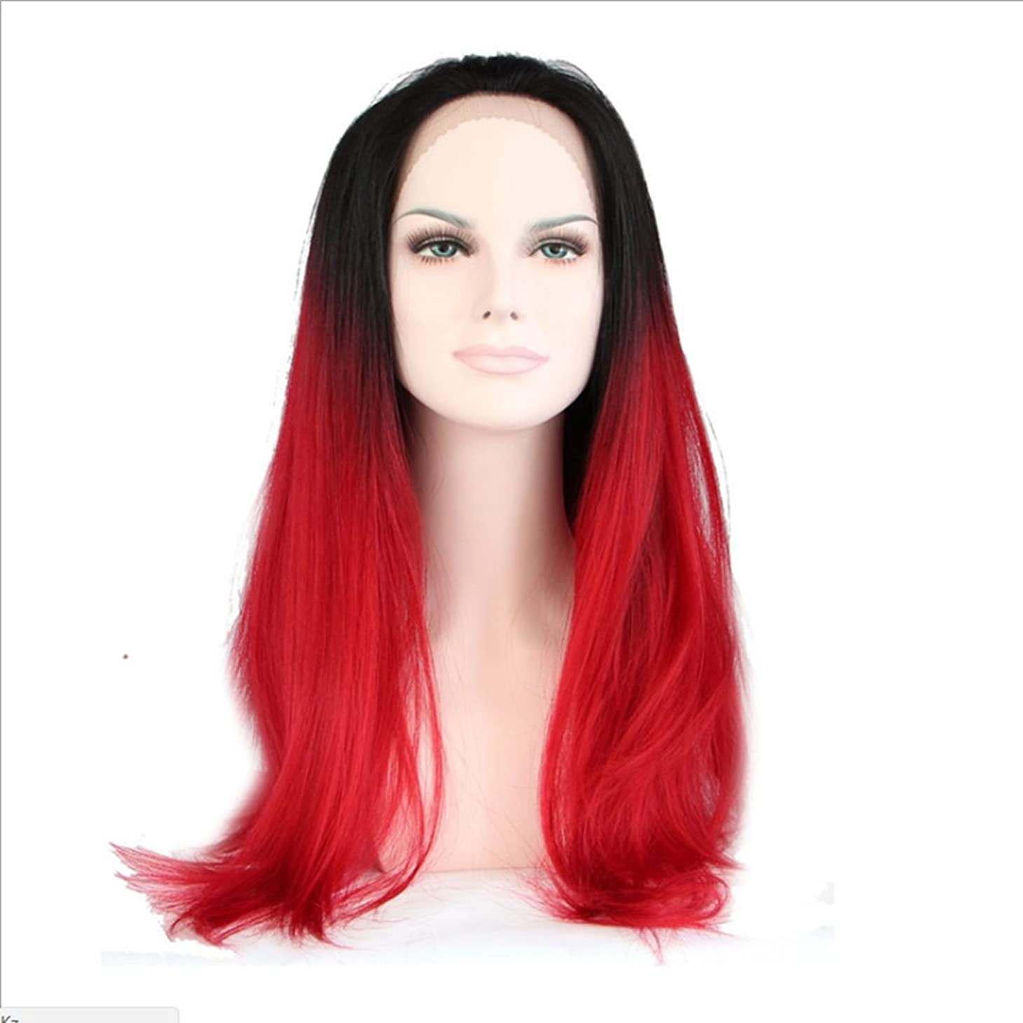 ピニオンヘルシー石油Doyvanntgo 女性用高温シルク合成ウィッグレースフロントロングストレートヘアレングスヘア耐熱ウィッグ(シルバーホワイトグラデーションブラック、ブラックグラデーションビッグレッド) (Color : Black gradient big red)