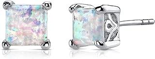 Created Opal Stud Earrings Sterling Silver Princess Cut 2.00 Carats
