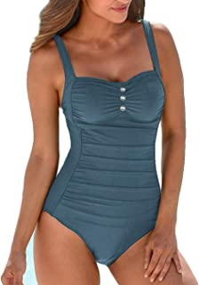 0651cc525f9e1 Upopby Women's Retro Tummy Control One Piece Swimsuits Monokini Push Up Bathing  Suits Swimwear