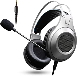 Ps4 headphones Headphone Game Headset with Microphone and Volume Control Wired Headset Noise Reduction Mobile Phone/Laptop Headset xbox headsets (Color : Gray)