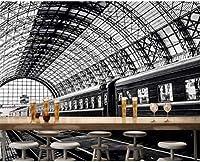 RTYUIHN 写真の壁紙の壁紙シンプルな駅黒と白の風景のリビングルームの壁紙モダンな壁の芸術の装飾