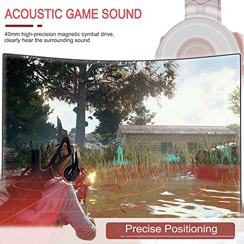 Galopar Gaming Headset, Gaming Kopfhörer mit Mikrofon, Bass Stereo Surround, kompatibel mit PS4 / PS5/ Xbox One/PC/Laptop/Nintendo Switch und Mobile-Rot -Headset Haken
