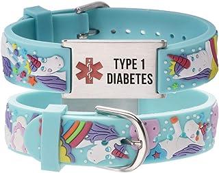 linnalove- Free Engraved Medical id Bracelet Parents Gift to Son, Daughter, Brother, Sister-Cartoon Rhinoceros