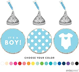 Andaz Press Chocolate Drop Labels Trio, Fits Hershey's Kisses, Boy Baby Shower, Baby Blue, 216-Pack