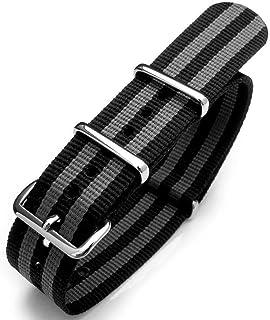 Cinturino orologio 20mm o 22mm G10 James Bond pesante cinturino in nylon fibbia lucida - NYJ doppio nero e grigio