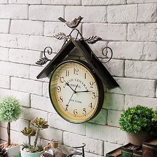 YYMM Reloj de jardín al Aire Libre, Reloj de Pared de pájaro de Hierro Forjado Pastoral Retro, Reloj de Pared de la Vendimia silenciosa, Relojes de Pared de diseño nórdico