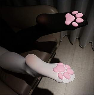 shengyuefeng, Calcetines con almohadilla de pata de gato hasta el muslo, lindo cojín de carne de gato porque calcetines hasta la rodilla, medias de gato, calcetín con almohadilla de pata gato para mujer (Negro)