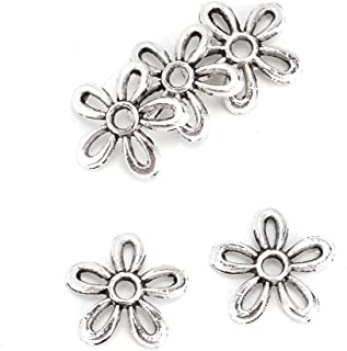 Clina 100 PCS Silver Jewelry Accessories Antique Silver Color Flower Beads end Cover DIY Jewelry Production Accessories Supplies