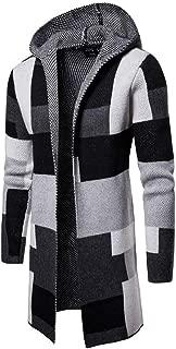 Men's Knit Long Cardigan Men's Hooded Solid Knit Patchwork Coat Jacket Cardigan Long Sleeve Tops Blouse