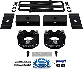 """Supreme Suspensions - Full Lift Kit for 1995-2004 Toyota Tacoma 2½"""" Front Lift Spacers + 1½"""" Rear Lift Steel Blocks + Square Bend U-Bolts + Brake Line Relocator Bracket + Axle Shims 2WD 4WD (Black)"""