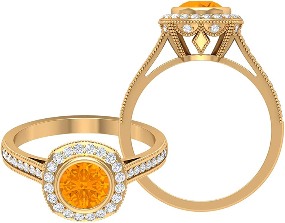 Rosec Jewels Selling - Max 63% OFF 1.3 CT Lab Ring Sapphire Solitaire Orange Created