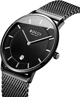Mens Stainless Steel Quartz Watches Dress Wrist Watch Business 40mm Analog Watch with Black Dial