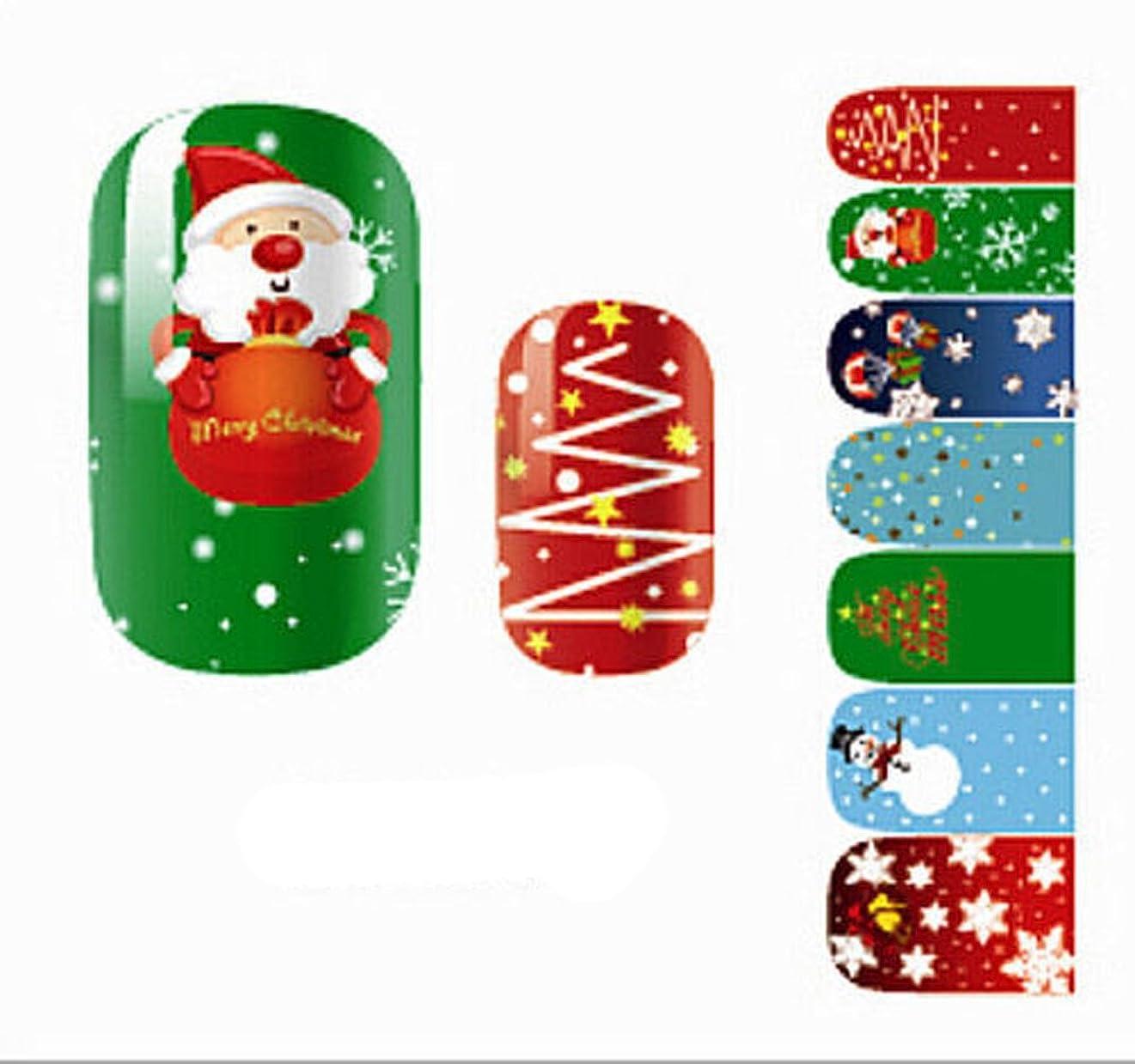 侵略ボタン鈍いHappyハッピー耳 14枚7ペア/セット 可愛いネイルシール クリスマス サンタクロース 雪 海軍風 ウサギ 混合柄 薄い レディース 子供に適用 (クリスマス風)