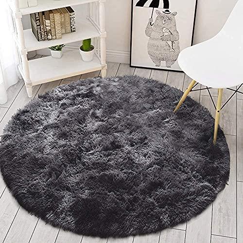 Leesentec Tapis Rond Chambre Tapis Salon Anti Slip Doux Moelleux Tapis Shaggy Tapis de Sol Grand pour Couloir (Noir/Gris, 160cm)