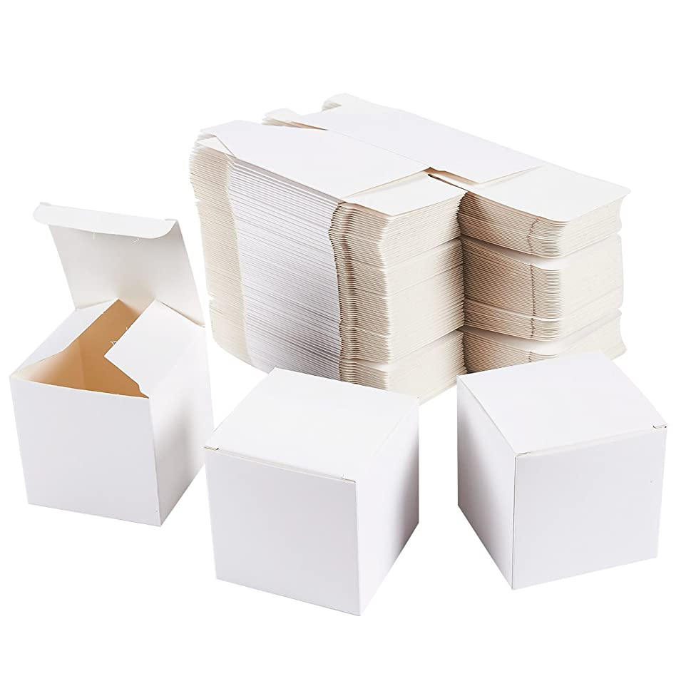 White Gift Boxes - 100-Pack Gift Wrapping Paper Boxes with Lids, Kraft Boxes for Party Supplies, Cupcake Containers, Wedding Favors, Small, 3 x 3 x 3 Inches