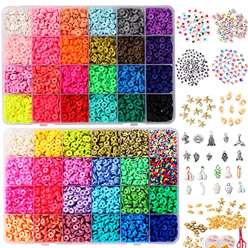 8800pcs Clay Beads for Jewelry Making Kit,6mm 48 Colors Spacer Flat Round Polymer Heishi Beads for Bracelets Necklace Earring Making, DIY Arts Crafts Kit Gifts for Girls Age 6-12