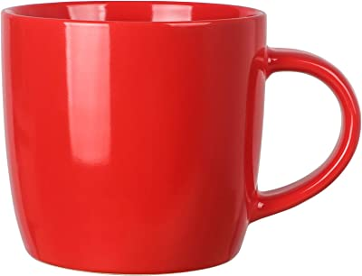 14 OZ Coffee Mug, Harebe Smooth Ceramic Tea Cup, Medium Milk Cup, Suitable for Office and Home, with Handle - Bright light Red