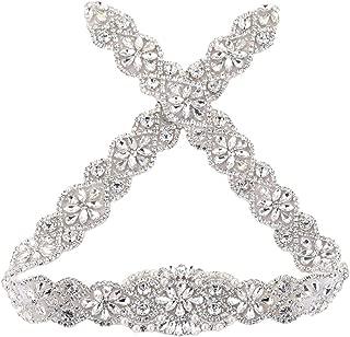 29'' Plus Size Rhinestone Trim Bridal Wedding Sash Belt Applique Crystal Beaded Women Formal Dress Applique Sparkly Thin Sew Iron on Applique for Bridesmaid Gown