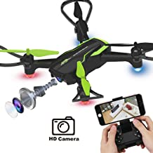 $39 » Dwi Dowellin Mini Drone with Camera HD Live Video FPV RC Quadcopter Custom Flight Route Auto Hovering One Key Take Off Spin Flips Rolls Drones Toys for Kids Beginners Adults Boys and Girls