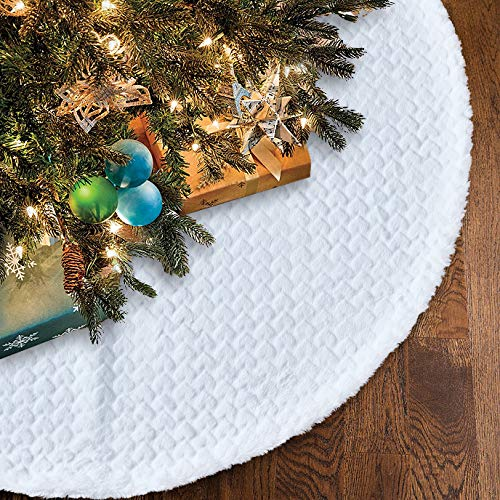 Lalent 36 inches Christmas Tree Skirt Snowy White Soft Classic Faux Fur Tree Skirt Double Layers Xmas Tree Mat for Holiday Party Christmas Decorations and Ornaments