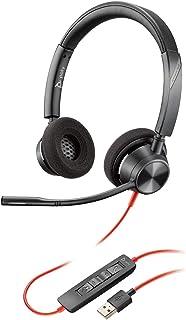 Plantronics Stereo Headset 'Blackwire C3320' mit USB A Anschluss und flexiblem Mikrofonarm, Schwarz, One Size