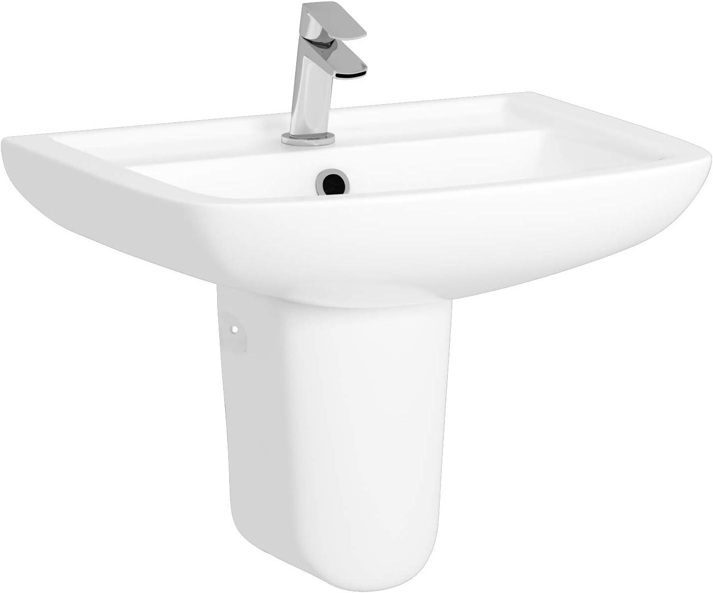 610mm Semi Pedestal Basin Seat Bathroom Suite Cistern Bathroom Suite Cube Rimless Close Coupled Toilet