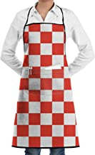 NiYoung Cooking Aprons for Women Men, Anti-Stain & Durable Chef Aprons for Cooking, Red and White Checkered Baking/BBQ/Gardening Aprons, Funny and Unique Waist Bib Apron, 28 x 20 Inch