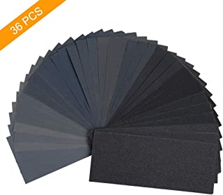 DEDC 42 Pieces 120 to 3000 Grit Wet Dry Sandpaper Assortment 9x3.6Inch Abrasive Paper Waterproof Sanding Sheets for Automotive Wood Furniture Finishing Polishing