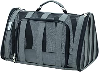 Striped Pet Carrier for Cat and Puppy, Portable Travel Bag Airline Approved, Top Loading, Sturdy Bottom, Adjustable Shoulder Strap, Cozy Cushion (Color : Gray)