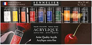 Sennelier Artist Acrylique Set, Includes Ten 21ml Tubes of Extra-Fine Artist Quality Acrylic Paint (10-120234-00)