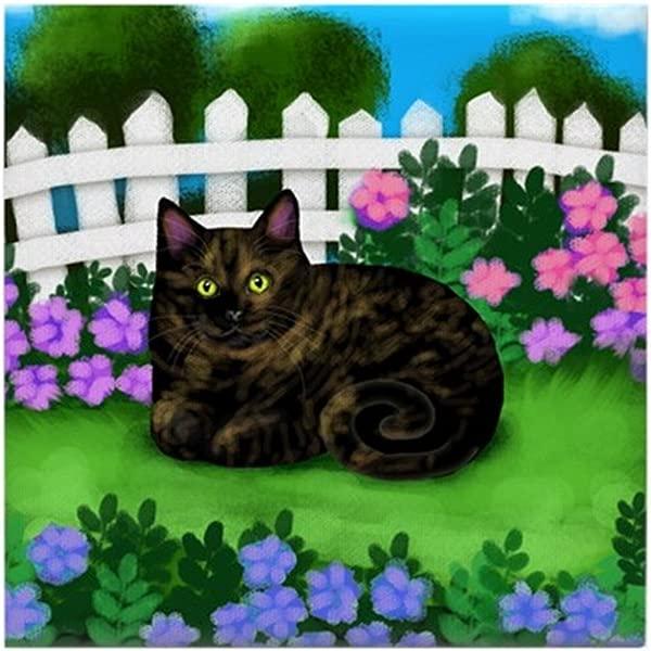 CafePress 龟甲猫花园瓷砖杯垫饮料杯垫小三脚架