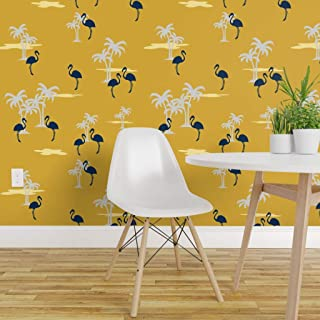 Spoonflower Peel and Stick Removable Wallpaper, Coral Sands Oasis Gold Midnight Blue Grey Print, Self-Adhesive Wallpaper 12in x 24in Test Swatch