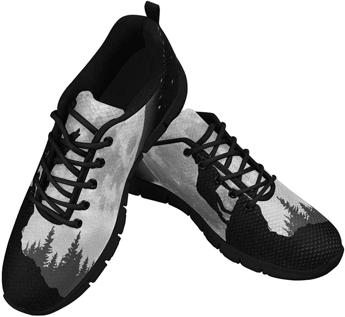 INTERESTPRINT Black and White Wolf Howling at The Moon Women's Walking Shoes Lightweight Casual Running Sneakers