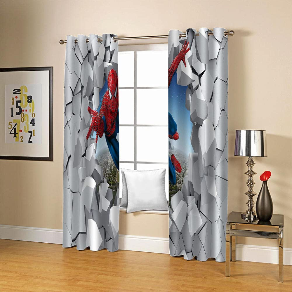 ZCLCHQ 3D Curtain for Bedroom Walls Heroes Curt Darkening All items in Trust the store Room