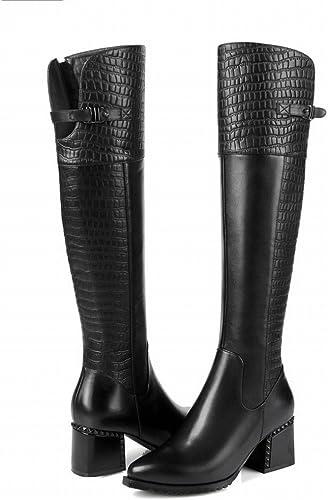 ANI Chaussures D'Hiver Motif de Pierre Haut Cylindre Chevalier Bottes Fermeture à Glissière Latérale Plus Cachemire Chaud avec Des Bottes de Femmes